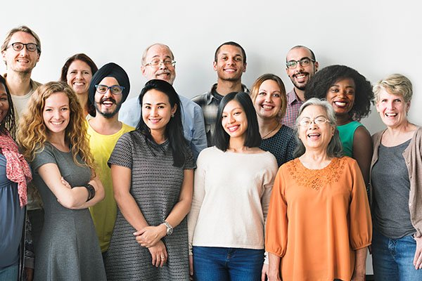 Group of people of different ages, gender and ethnicity